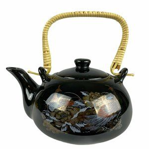 Vintage Japanese Black Ceramic Peacock Teapot Gold